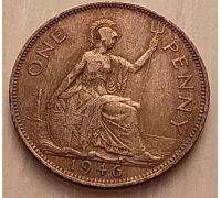 1 пенни 1946 год Великобритания, one penny Георг VI