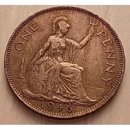 1 пенни 1946 год Великобритания, one penny. Георг VI