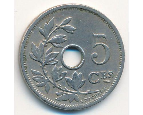 5 сентим 1907 год Бельгия BELGIQUE