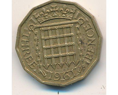 3 пенса 1961 год Великобритания Елизавета II