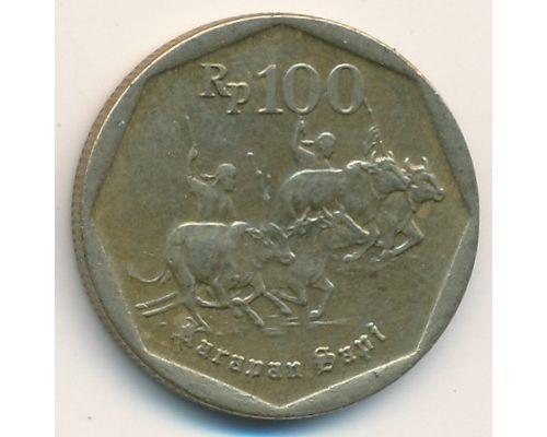 100 рупий 1991 год Индонезия Гонки на быках