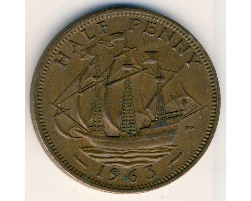 1/2 пенни 1963 год Великобритания haif penny Елизавета II