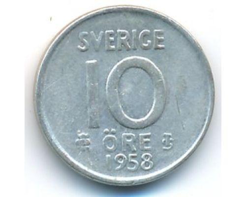 10 эре 1958 год Швеция Серебро