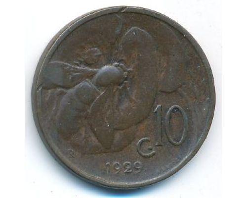 10 чентезимо 1929 год Италия Пчела