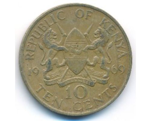 10 центов 1969 год Кения Джомо Кениата