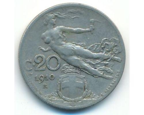 20 чентезимо 1910 года Италия (20 центов) Состояние F