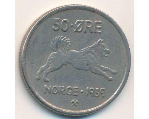 50 эре 1959 год Норвегия Собака Редкая