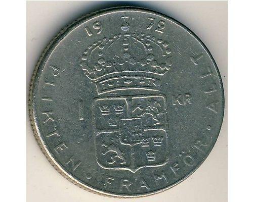 1 крона 1972 год Швеция Густав VI Адольф