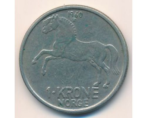 1 крона 1960 год Норвегия Лошадь