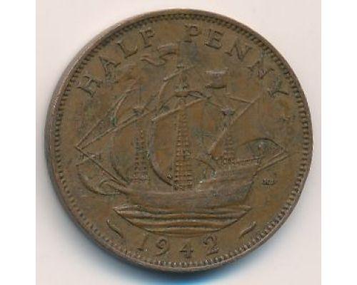 1/2 пенни 1942 год Великобритания haif penny Георг IV