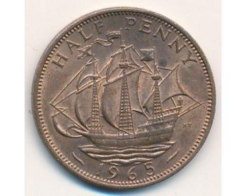 1/2 пенни 1965 год Великобритания haif penny Елизавета II
