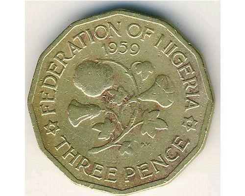 3 пенса 1959 год Нигерия Хлопок