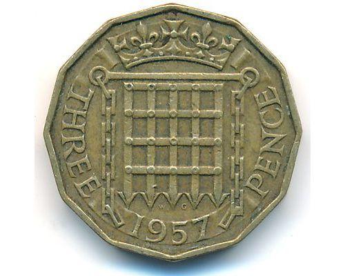 3 пенса 1957 год Великобритания Елизавета II