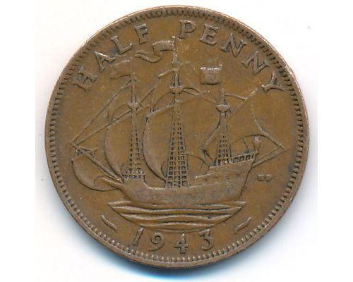 1/2 пенни 1943 год Великобритания haif penny Георг IV