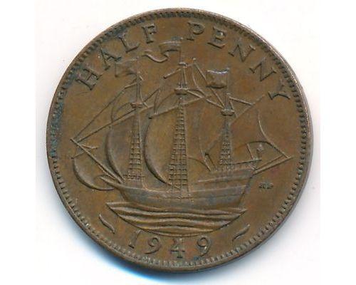 1/2 пенни 1949 год Великобритания haif penny Георг IV
