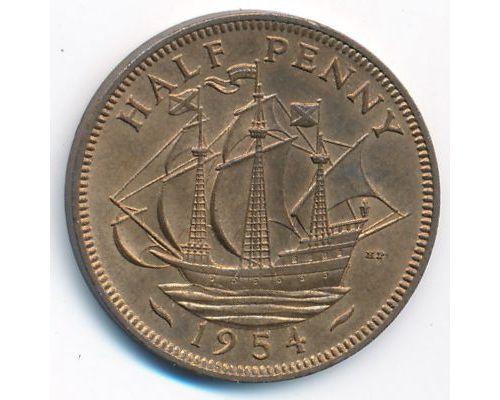 1/2 пенни 1954 год Великобритания haif penny Елизавета II