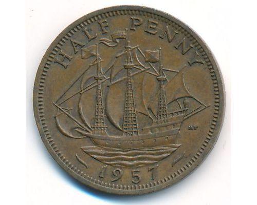 1/2 пенни 1957 год Великобритания haif penny Елизавета II