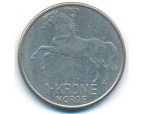1 крона 1971 год Норвегия Лошадь