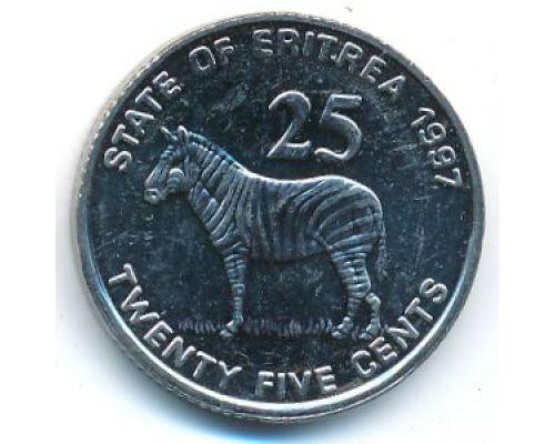 25 центов 1997 год Эритрея Зебра