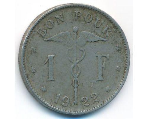 1 франк 1922 год Бельгия BELGIQUE состояние VG