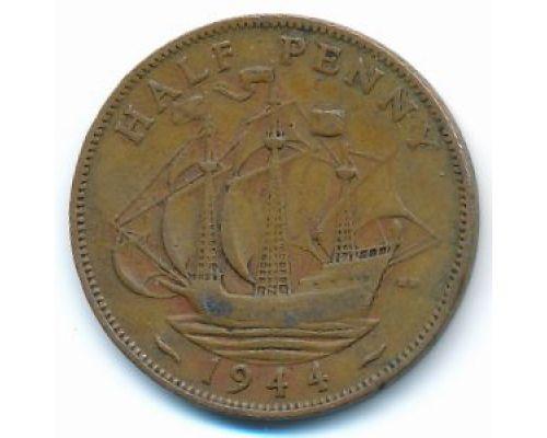 1/2 пенни 1944 год Великобритания haif penny Георг IV