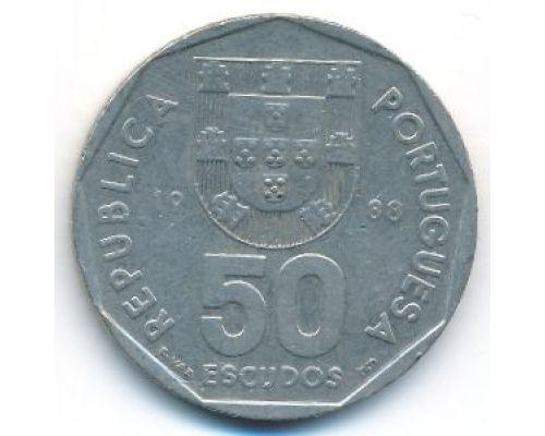 50 эскудо 1988 год Португалия Парусный Корабль