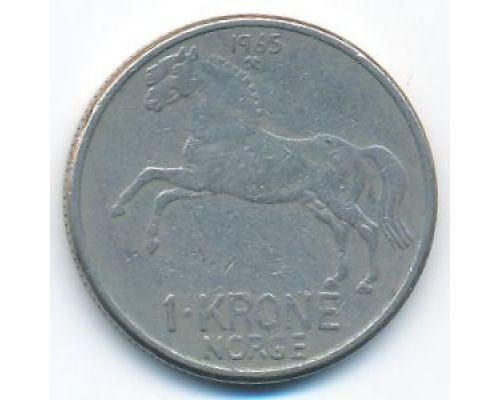 1 крона 1965 год Норвегия Лошадь