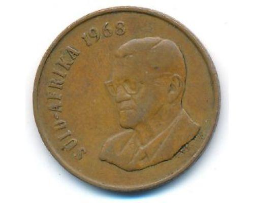 2 цента 1968 год ЮАР Антилопа Гну Чарльз Роббертс Сварт