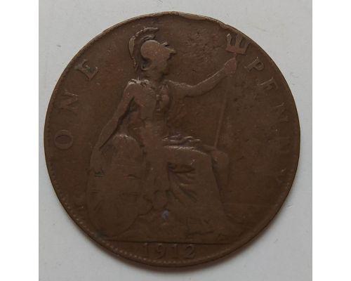1 пенни 1912 год Великобритания, one penny Георг V №2