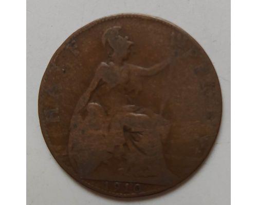1/2 пенни 1910 год Великобритания Пол пенни, half penny Эдвард VII