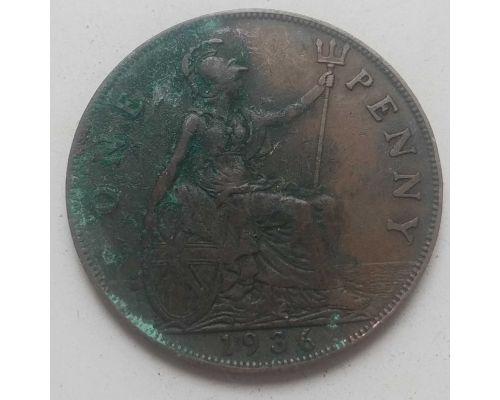 1 пенни 1936 год Великобритания one penny Георг V №4 Состояние VG