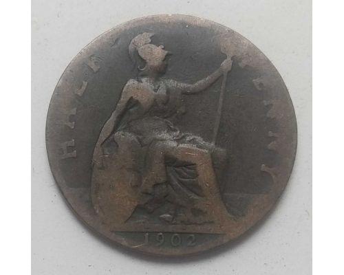 1/2 пенни 1902 год Великобритания Пол пенни, half penny Эдвард VII
