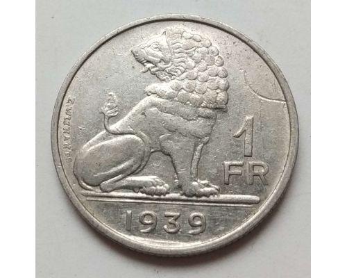 1 франк 1939 год Бельгия BELGIQUE-BELGIE