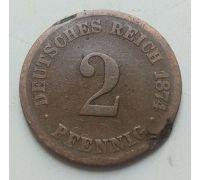 2 пфеннига 1874 год C Германия (Германская Империя) Состояние VG