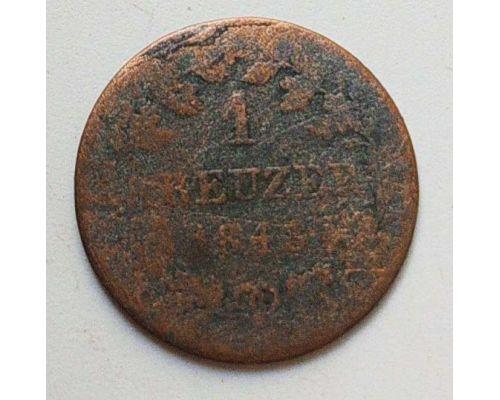 1 крейцер 1848 год Германия Бавария