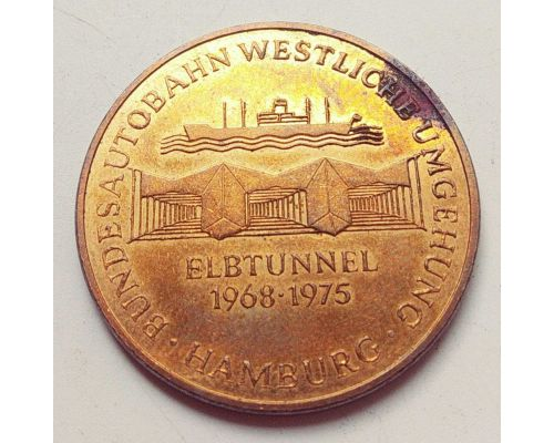 Медаль Hamburg ELBTUNNEL MEDAL GERMANY BUNDESBAHN 1968-1975 Дорожный Туннель