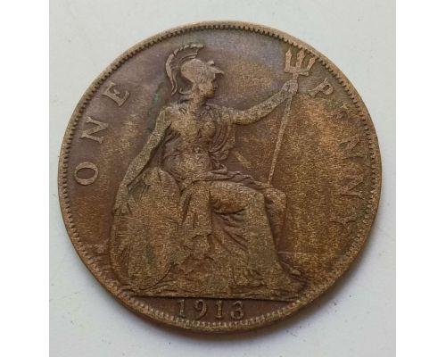 1 пенни 1913 год Великобритания, one penny Георг V