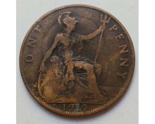 1 пенни 1919 год H Великобритания one penny Георг V Редкая