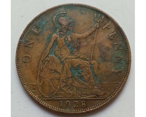 1 пенни 1928 год Великобритания, one penny Георг V состояние VG