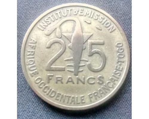 25 франков 1957 год Западная Африка - Того Золотая гиря Ашанти