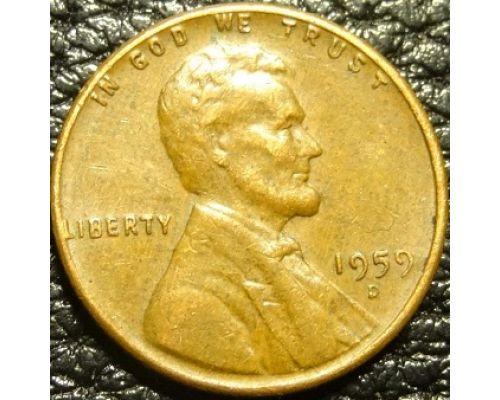 1 цент 1959 года D США Америка