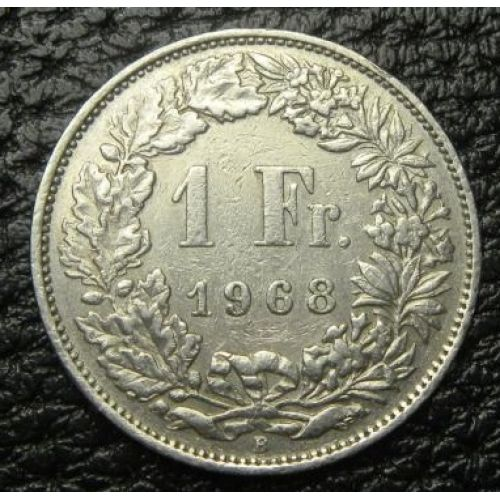 1 франк. Швейцария. 1968 год