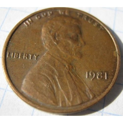 1 цент 1981 года. США. Америка