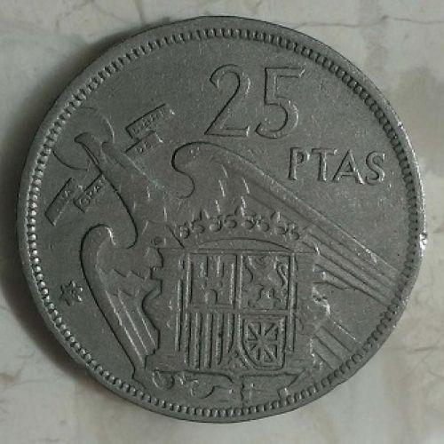 25 песет 1957 год. Испания