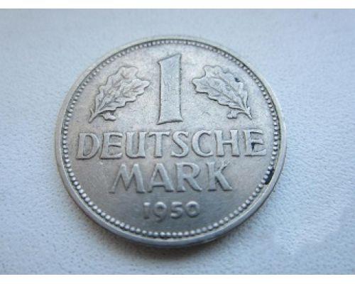 1 марка 1950 год. G. Германия. ФРГ. Карлсруэ . Редкая