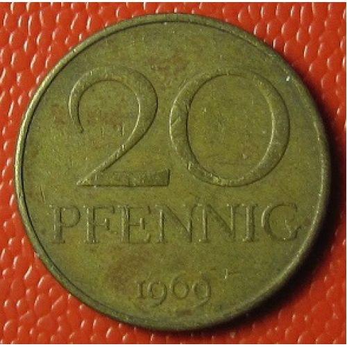 20 пфеннигов 1969-1971 год.  Германия. ГДР