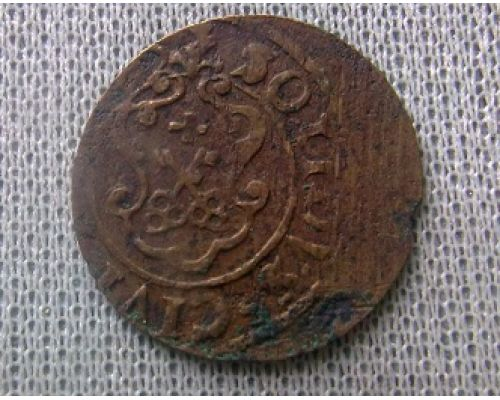 1 солид. 1632-1654. Ливония. Швеция. Кристина Ваза (4)