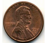 1 цент 1994 D года США Америка