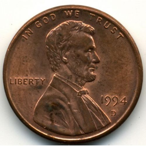 1 цент 1994 D года. США. Америка