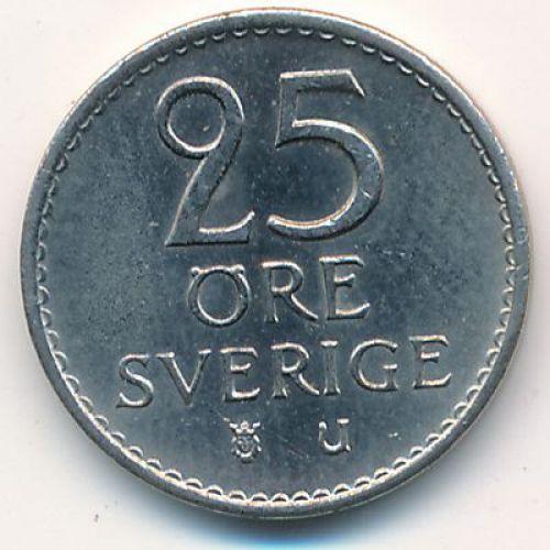 25 эре 1972 год. Швеция . Маленький тираж